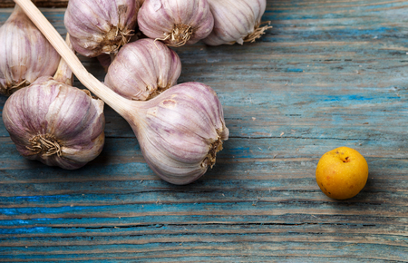 fresh violet garlic and yellow fruit  on a blue rustic wooden background. Concept of contrast.