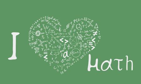 """Letras de texto de una frase inspiradora """"Me encantan las matemáticas"""" en forma de corazón. Ilustración de vector dibujado a mano sobre fondo verde. Ilustración de vector"""