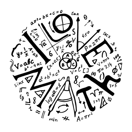 Text lettering of an inspirational phrase I Love math. Hand drawn vector illustration.