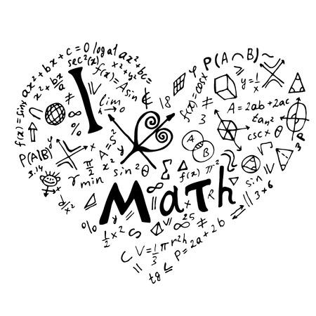 """Tekst belettering van een inspirerende zin """"I Love math"""" in de vorm van een hart. Hand getekend vectorillustratie op witte achtergrond."""