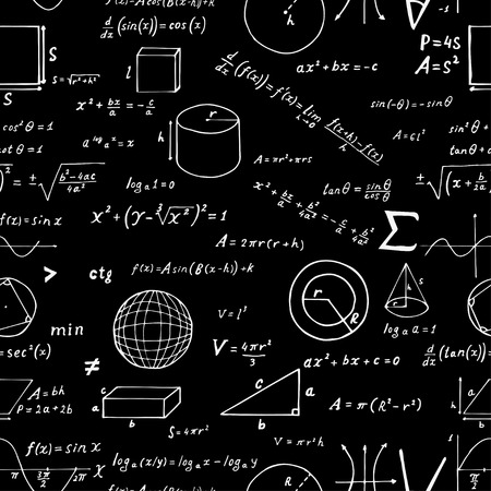 Seamless pattern, hand drawn mathematical formulas and signs isolated on black background. Vector education and scientific illustration.