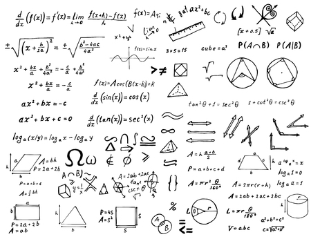 Set of hand drawn mathematical formulas and signs isolated on white background. Vector education and scientific illustration. Illustration