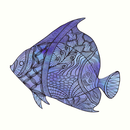 Hand drawn stylized fish with doodle, floral, vintage elements and watercolor background. Isolated on white. Vector illustration.