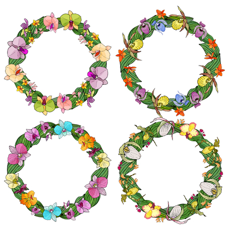 Set of circle frames made of orchids and floral elements. Hand drawn elements for design. Isolated on white.