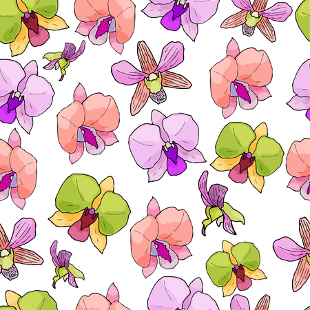 Seamless pattern with hand drawn orchids and floral elements. Colored vector illustration.