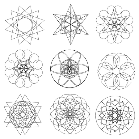 Set of abstract geometric  elements and shapes on white background. Sacred geometry, esoteric symbols. Use for banknote, currency, logos voucher or money design.