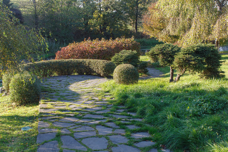 Park with green lawn, trees trimmed bushes and natural stone path in autumn. Modern landscape  design. 免版税图像