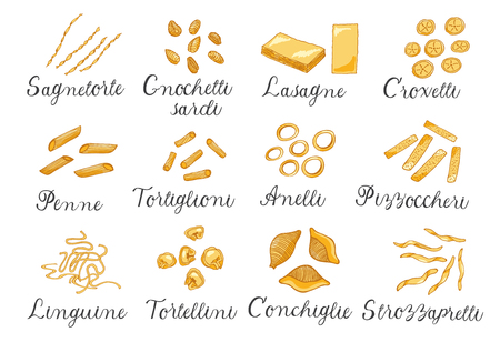 Hand drawn large set of different types of Italian pasta with names.