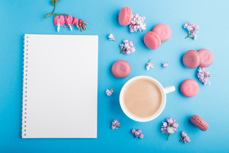 Purple and pink macaron or macaroon cakes with notebook, cup of coffee, lilac and bleeding heart flowers on pastel blue Reklamní fotografie - 124156268