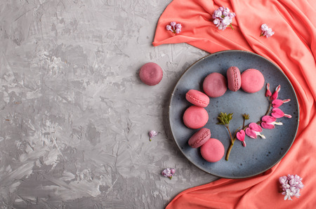 Purple and pink macaron or macaroon cakes with bleeding heart flowers and red textile on blue ceramic plate on a gray concrete Reklamní fotografie - 124156272