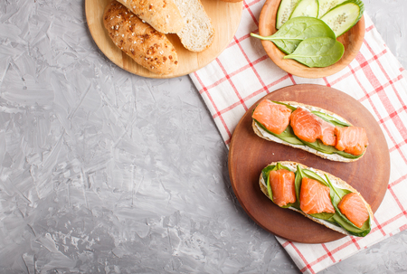 Smoked salmon sandwiches with cucumber and spinach on wooden board on a gray concrete Reklamní fotografie