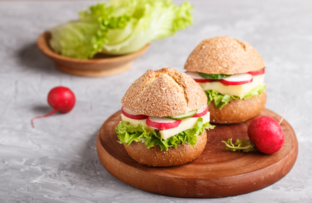 Sandwiches with cheese, radish, lettuce and cucumber on wooden board on a gray concrete Reklamní fotografie - 124156254