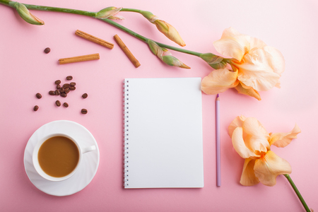 Orange iris flowers and a cup of coffee with notebook on pastel pink background. Morninig, spring, fashion composition. Flat lay, top view, copy space. Reklamní fotografie - 124400666