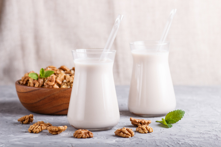 Organic non dairy walnut milk in glass and wooden plate with walnuts on a gray concrete background. Vegan healthy food concept, close up, side view, Reklamní fotografie - 124399420