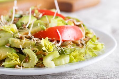 Vegetarian salad of celery, germinated rye, tomatoes and avocado on linen tablecloth, close up, selective focus, side view.