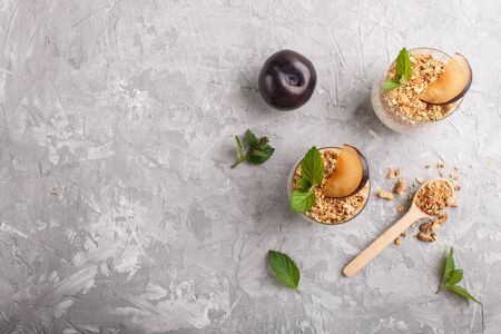 Yoghurt with plum, chia seeds and granola in a glass and wooden spoon on gray concrete background. top view, flat lay, copy space.