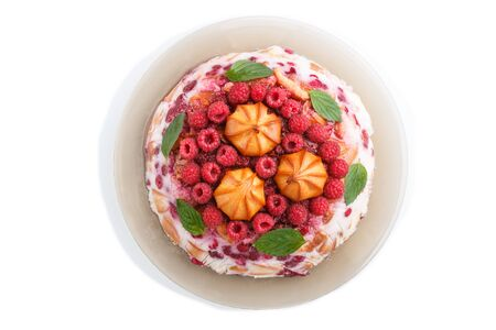 Homemade jelly cake with milk, cookies and raspberry isolated on white background. top view. flat lay, close up.