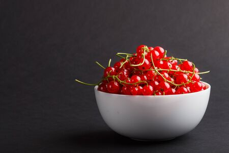 Fresh red currant in white bowl on black background. side view, copy space, close up. Reklamní fotografie