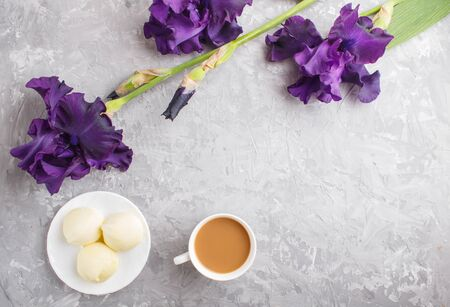 Purple iris flowers and a cup of coffee with marshmallow on a gray concrete background. Morninig, spring, fashion composition. Flat lay, top view, copy space. Reklamní fotografie