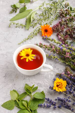 Cup of herbal tea with calendula, lavender, oregano, hyssop, mint and lemon balm on a gray concrete background. Morninig, spring, healthy drink concept. side view. Reklamní fotografie
