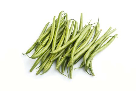 Bunch of green french beans isolated on white background. side view, close up. Reklamní fotografie
