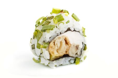 Japanese maki sushi rolls with green onion, isolated on white background. Side view, close up, selective focus. 写真素材