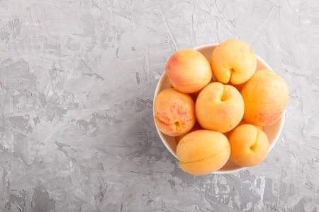 Fresh orange apricots in white bowl on gray concrete background. top view, flat lay, copy space.