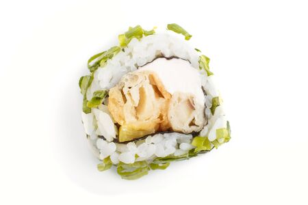 Japanese maki sushi rolls with green onion, isolated on white background. Top view, close up, selective focus.