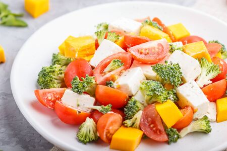 Vegetarian salad with broccoli, tomatoes, feta cheese, and pumpkin on white ceramic plate on a gray concrete background and linen textile, side view, close up, selective focus.
