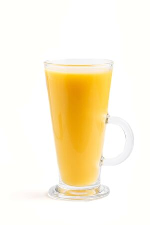 Glass of orange juice isolated on white background. Morninig, spring, healthy drink concept. Side view.