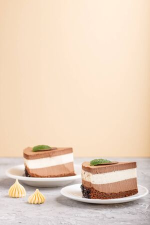 Cake with souffle milk chocolate cream on a gray and light brown