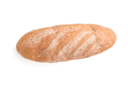 Fresh homemade bread with flour isolated on white background. top view, close up, flat lay.