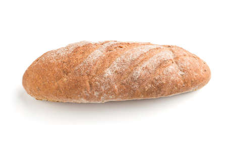 Fresh homemade bread with flour isolated on white background. side view, close up.
