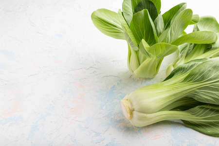 Fresh green bok choy or pac choi chinese cabbage on a white concrete background. Side view, copy space, close up.