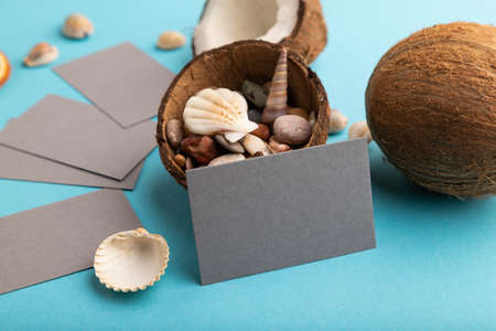 Gray paper business card with coconut and seashells on blue pastel background. Side view, copy space. Tropical, healthy food, vacation, holidays concept.