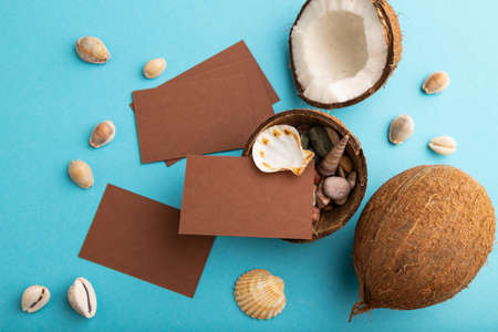 Brown paper business card with coconut and seashells on blue pastel background. Top view, flat lay, copy space. Tropical, healthy food, vacation, holidays concept. Zdjęcie Seryjne
