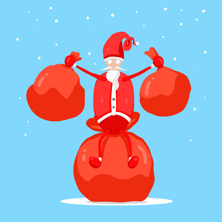 Santa Claus holding a gift bag