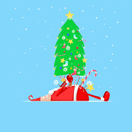 sleeping bags: Santa Claus holding  a Christmas tree