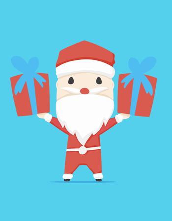 산타 클로스 캐릭터 선물 상자 및 아이콘 만화, 벡터 일러스트 레이 션 일러스트