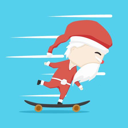 santa claus character  Skateboarding and icon cartoon ,vector illustration
