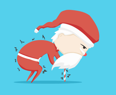 santa claus character walking stick and icon cartoon ,vector illustration