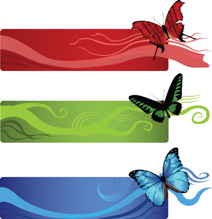 set of three banners with abstract lines and butterflies on a corner