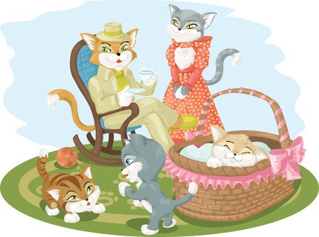 anthropomorphous: illustration in cartoon style - cats family scene