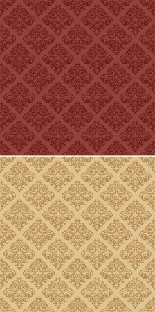 classic floral wallpaper in red color and color of sand Stock Vector - 6891921
