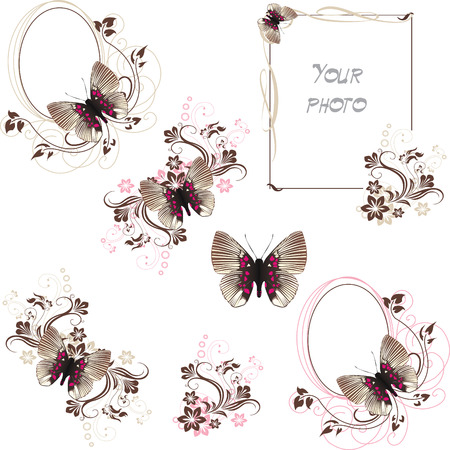 set of frames with stripped butterfly Vector