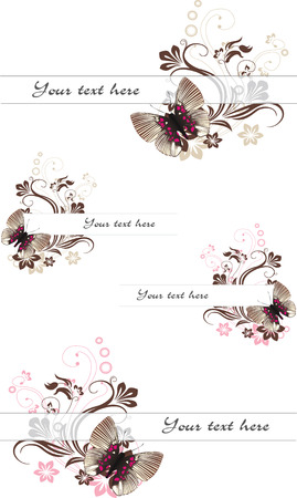 set of text frames with butterfly in chocolate and caramel colors
