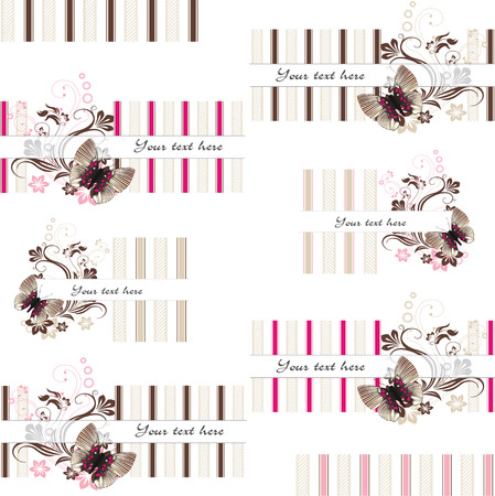 set of text frames with butterfly and textures in chocolate and caramel colors