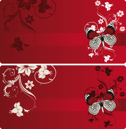 red banner with butterfly and floral pattern Stock Vector - 6914992