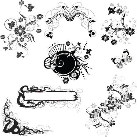 set of floral decorative elements Stock Vector - 7103233