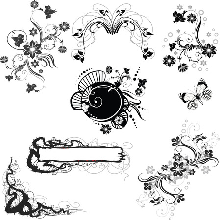 set of floral decorative elements Stock Vector - 7103233